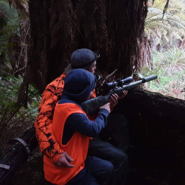 Father and Son hunting from a blind, Public Land