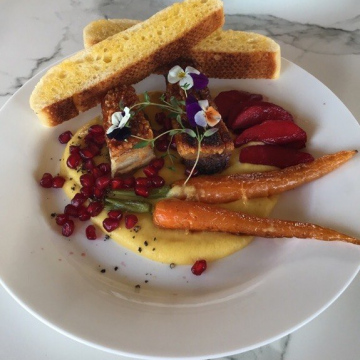 Pork Belly, Sweet Potato Puree, baby carrots with Port infused apples and pomegranate. Side of Crusty Bread
