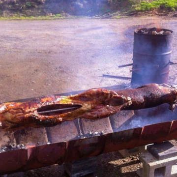 Wild Sheep and Wild Pig on a Wood Fired Spit